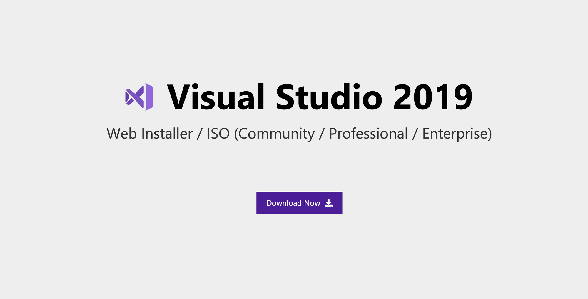 Download Visual Studio 2019 Web Installer / ISO (Community