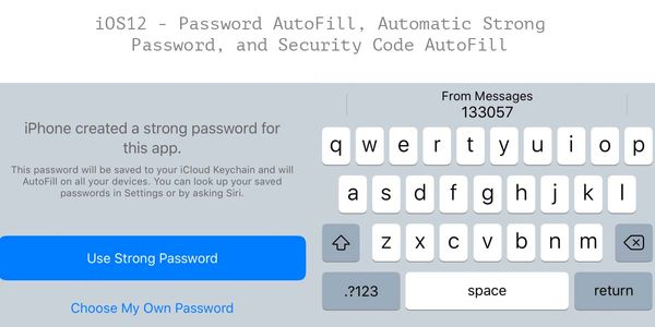 iOS12 - Password AutoFill, Automatic Strong Password, and Security Code AutoFill